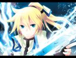 1boy blonde_hair blue_eyes guilty_gear guilty_gear_xrd hair_ribbon ky_kiske letterboxed lightning popped_collar ribbon short_ponytail smile solo sword weapon
