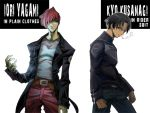 belt biker_clothes black_hair casual character_name cigarette hair_over_one_eye king_of_fighters kusanagi_kyo kusanagi_kyou multiple_boys red_hair redhead saturn-freak short_hair smoking snk yagami_iori