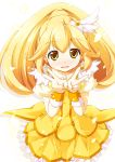 altivr blonde_hair cure_peace double_v highres kanzaki_sora kise_yayoi long_hair magical_girl petals ponytail precure ribbon skirt smile_precure! solo v wrist_cuffs yellow_eyes
