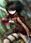 1girl black_hair blue_eyes boots forest highres jacket long_sleeves mikasa_ackerman nature pants scarf shingeki_no_kyojin short_hair solo sword tari thigh_strap three-dimensional_maneuver_gear tree weapon