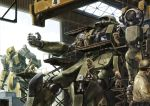 engineer gundam hangar helmet highres mecha mobile_suit_gundam realistic science_fiction tenjin_hidetaka war zaku zaku_i zaku_ii_f/j zeon