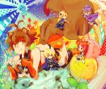 animal_ears blazblue blonde_hair blue_eyes brown_hair cape carl_clover crossed_arms gloves green_eyes hat hug izayoi_(blazblue) jin_kisaragi long_hair makoto_nanaya noel_vermillion red_eyes redhead smile tail tsubaki_yayoi uniform