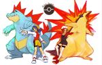 chieda crystal_(pokemon) feraligatr hat kotone_(pokemon) multiple_girls pokemon pokemon_(game) pokemon_gsc pokemon_hgss title_drop typhlosion