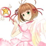 card_captor_sakura cardcaptor_sakura child dress green_eyes hoshi_no_tsue kinomoto_sakura magical_girl sena_(piyotan79) short_hair wand wings