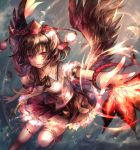 1girl bird_wings black_wings brown_hair fan hat hat_ribbon looking_at_viewer open_mouth outstretched_arm puffy_sleeves rain red_eyes ribbon shameimaru_aya shigaraki_(strobe_blue) shirt short_hair short_sleeves skirt solo thigh-highs third_eye tokin_hat touhou white_legwear wings zettai_ryouiki