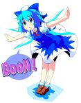 1girl 2ch blue_eyes blue_hair bow bu-n cirno hair_bow highres outstretched_arms ribbon solo spread_arms sw touhou wings