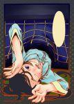blank_word_bubble blue_eyes foreshortening hands kotatsu long_hair lying metalzigzag open_mouth original pajamas solo sweat table upside-down wink