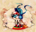 1girl altaria bag brown_hair cabbie_hat closed_eyes cloud clouds hat hug kotone_(pokemon) oru_(hone_oru) pokemon pokemon_(creature) pokemon_(game) pokemon_gsc rainbow rainbow_path sleeping swablu thigh-highs thighhighs twintails white_legwear
