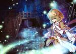 blonde_hair bridge green_eyes magic magic_circle mizuhashi_parsee outstretched_arms pointy_ears revision scarf sherrybt short_hair spread_arms touhou