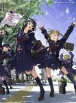 5girls \o/ arms_up bag baseball_bat black_hair blonde_hair brown_eyes closed_eyes exercise glasses kneehighs legs loafers multiple_girls nakaba_reimei open_mouth original outstretched_arms school_uniform serafuku shoes socks stretch translation_request tree twintails