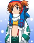 hand_in_pocket hands_in_pockets jacket kakkii kasumi_(pokemon) kyogre midriff navel orange_hair pokemon scarf side_ponytail solo suspenders