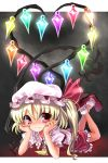 blonde_hair bobby_socks eyelashes flandre_scarlet hands_on_own_face hat heart heart_wings katahira_masashi laevatein legs_up lying mary_janes on_stomach ponytail rainbow_order red_eyes shoes short_hair side_ponytail smile socks solo touhou wings