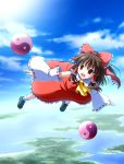 bow brown_hair detached_sleeves flying hair_bow hakurei_reimu highres long_hair red_eyes sky solo touhou tsuda_akira yin_yang