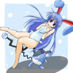 1girl azumarill barefoot blue_eyes blue_hair bunny_ears costume frills long_hair lowres moemon one-piece_swimsuit personification pokemon pokemon_(creature) pokemon_(game) pokemon_gsc rabbit_ears swimsuit tail tenjou_ryuka very_long_hair