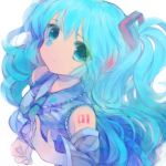 aqua_eyes aqua_hair detached_sleeves face hatsune_miku long_hair makino_(sinobusan) necktie simple_background solo twintails very_long_hair vocaloid