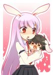 bad_id black_hair bunny_ears inaba_tewi long_hair meimone purple_hair rabbit_ears red_eyes reisen_udongein_inaba short_hair touhou young