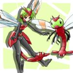 1girl armor bodysuit costume green_hair insect insect_wings lowres moemon personification pokemon pokemon_(creature) pokemon_(game) pokemon_gsc tail tenjou_ryuka wings yanma