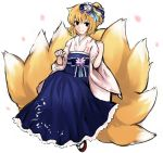 animal_ears bad_id blonde_hair flower fox_ears fox_tail hair_ornament hakama japanese_clothes multiple_tails noil_nws obi ribbon sandals short_hair smile solo tail touhou wide_sleeves yakumo_ran