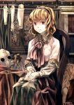 1girl alice_margatroid blonde_hair blue_eyes book bookshelf capelet chair cross curtains dagger doll_joints dress eyeball hands_on_lap headband inverted_cross jar long_sleeves looking_at_viewer mura_(sensuido) photo_(object) ribbon short_hair sitting solo touhou weapon window