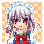 1girl braid izayoi_sakuya knife kujou_mikuru maid maid_headdress red_eyes ribbon short_hair short_sleeves silver_hair solo touhou twin_braids