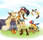 2girls archen baseball_cap bird black_hair boots cap cosplay crocodile crocodilian denim denim_shorts emolga flying footwear ganaha_hibiki hat holding holding_poke_ball idolmaster kome-me long_hair miniskirt mouse multiple_girls orange_hair poke_ball pokemon pokemon_(creature) ponytail sandile shoes shorts skirt socks stoutland takatsuki_yayoi tepig touko_(pokemon) touko_(pokemon)_(cosplay) twintails vest
