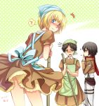 1girl apron armin_arlert belt black_eyes black_hair blonde_hair blue_eyes blush broom brown_hair crossdressing eren_jaeger highres jacket maid mikasa_ackerman moxue_qianxi scarf shingeki_no_kyojin short_hair thigh_strap