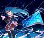 1girl blue_hair cube_x_cursed_x_curious fear_kubrick red_eyes school_uniform solo thigh-highs thighhighs zettai_ryouiki