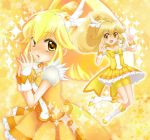 1girl bike_shorts blonde_hair cure_peace earrings jewelry kise_yayoi long_hair magical_girl precure ribbon shorts_under_skirt skirt smile_precure! solo yellow_eyes yukinabe_(pixiv944737)