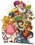 4boys 4girls ambipom ayako_(pokemon) backpack bag black_hair blue_eyes breloom brown_eyes brown_hair child closed_eyes confetti denim dress dustox glameow hand_on_hip hat hikari_(pokemon) holding holding_poke_ball jewelry kengo_(pokemon) long_hair meowth multiple_boys multiple_girls musashi_(pokemon) necklace necktie nozomi_(pokemon) open_mouth pikachu pinkish piplup poke_ball pokemon pokemon_(anime) pokemon_(creature) ponytail purple_hair randoseru red_eyes red_hair redhead ribbon satoshi_(pokemon) short_hair sunglasses sunglasses_on_head takeshi_(pokemon) takeshi_(pokemon)_(dp) takeshi_(pokemon_dp) twintails vest