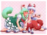 all_fours armband barefoot blush bow breasts crossed_legs dress drunk ex-keine fang fujiwara_no_mokou green_hair hair_bow hand_holding holding_hands horn_ribbon horns kamishirasawa_keine large_breasts legs_crossed long_hair long_sleeves looking_at_another matty_(zuwzi) multiple_girls ofuda open_mouth pants pink_background red_eyes ribbon shirt short_sleeves sitting star starry_background suspenders sweat tail tokkuri touhou very_long_hair white_hair yellow_eyes