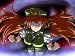 blue_eyes bow braid breasts clenched_hand clenched_hands ex-meiling fighting_stance fist glowing glowing_eyes hair_bow highres hong_meiling long_hair red_hair redhead solo touhou tsuki_wani twin_braids very_long_hair