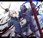 armor berserker_(fate/zero) blood crest_worm fate/zero fate_(series) full_armor hoodie insect male matou_kariya multiple_boys nobo_(nobocoz) pipe white_hair
