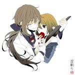 1girl blood bow brown_hair closed_eyes couple eyes_closed flower glasses hair_bow hand_holding hatoful_kareshi holding_hands iwamine_shuu knife labcoat long_hair lowres namikino necktie personification ponytail smile tousaka_hiyoko weapon wink yandere