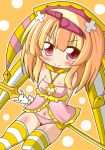 1girl beatmania beatmania_iidx blonde_hair breasts com hair_ornament hat ki_no_rapika looking_at_viewer red_eyes smile solo thigh-highs underwear weapon
