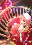 1girl ascot blonde_hair flandre_scarlet flower greetload hat hat_ribbon looking_up red_eyes ribbon rose short_hair side_ponytail skirt skirt_set smile solo stained_glass stairs touhou vines window wings wrist_cuffs yellow_rose