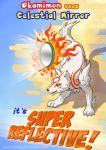 amaterasu animal english facial_mark fire mirror no_humans okami ookami_(game) parody pokemon pun risachantag shadow signature solo wolf yellow_eyes