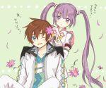 asbel_lhant blue_eyes brown_hair flower long_hair namo_(7-30-7) purple_eyes purple_hair smile sophie_(tales_of_graces) tales_of_(series) tales_of_graces twintails violet_eyes wince