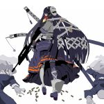 2boys assault_rifle bag bald bangs belt blunt_bangs bullpup covering covering_face death expressionless famas fingerless_gloves formal gloves gun hair_ornament headphones highres hone_shoukan katana loafers long_hair long_skirt looking_back lying mask mouth_hold multiple_boys original otacool profile rifle school_uniform serafuku shell_casing shoes short_sleeves shoulder_bag silhouette single_thighhigh skirt suit sword thigh-highs thighhighs toast toast_in_mouth trigger_discipline very_long_hair walking weapon