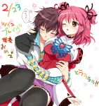 1girl asbel_lhant brown_eyes brown_hair cheria_barnes closed_eyes couple eyes_closed hug hug_from_behind kurimomo pink_hair skirt tales_of_(series) tales_of_graces thigh-highs thighhighs translation_request two_side_up wink