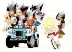 :/ :o armor bald bardock bicycle black_eyes black_hair broly cape car dragon_ball dragon_ball_z dragonball_z driving facial_hair grin h1rake-g0ma jeep motor_vehicle multiple_boys mustache nappa no_pupils one-eyed paragus racing raditz scar scouter smile son_gokuu spiked_hair super_saiyan topless turles vegeta vehicle wavy_mouth