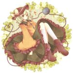 1girl bow floral_print green_eyes hat hat_bow heart heart_of_string komeiji_koishi kureha_goya long_sleeves shirt silver_hair sitting skirt solo third_eye touhou wide_sleeves
