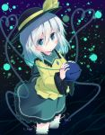 1girl green_eyes hat hat_ribbon heart heart_of_string komeiji_koishi lights long_sleeves looking_at_viewer razy_(skuroko) ribbon shirt silver_hair skirt solo third_eye touhou water wide_sleeves