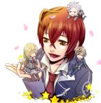 3boys aozora_hayato belt blush brown_hair closed_eyes eyes_closed kurosawa_tomo long_hair lowres male multiple_boys nanami_kanata petals red_hair redhead school_uniform simple_background star starry_sky_(game) thigh-highs thighhighs tomoe_you white_background white_hair yahisa_tsukiko yellow_eyes