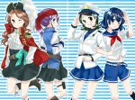 belt blue_eyes blue_hair brown_hair cravat epaulettes glasses green_eyes green_hair hat inazuma_eleven inazuma_eleven_(series) kino_aki kudou_fuyuka long_hair matsuri_(artist) multiple_girls open_mouth otonashi_haruna peaked_cap pirate purple_hair raimon_natsumi sailor salute short_hair skirt smile tricorne wink