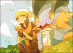 1boy bandana bandanna eating hat lowres pokemon pokemon_(creature) pokemon_(game) pokemon_rse stone_(shirokanipe_ranran) swampert yuuki_(pokemon) yuuki_(pokemon)_(remake) yuuki_(pokemon_emerald)