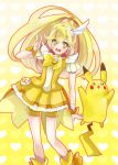 1girl bad_id bike_shorts blonde_hair boots bowtie choker color_connection creature crossover cure_peace dress gradient gradient_background heart heart_background kise_yayoi long_hair magical_girl ootani_ikue pikachu pokemon pokemon_(creature) power_connection precure seiyuu_connection shorts_under_skirt sio_azuki skirt smile_precure! v wrist_cuffs yellow yellow_background yellow_dress yellow_eyes