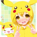 :3 blush candy_(smile_precure!) cosplay double_v hoodie kise_yayoi ootani_ikue pikachu pikachu_(cosplay) pokemon power_connection precure seiyuu_connection smile_precure! solo tears tottsuan v