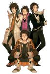 ^_^ alternate_costume alvin_(tales_of_xillia) bespectacled book boots brown_hair closed_eyes coat cravat eyes_closed formal glasses gloves highres jitome labcoat male messy_hair multiple_persona necktie pants squatting sudachips suit tales_of_(series) tales_of_xillia white_background