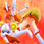 armpits bike_shorts blush boots candy_(smile_precure!) cure_sunny fiery_background fire highres hino_akane orange_(color) orange_eyes orange_hair panties precure smile_precure! striped striped_panties theft tiara underwear watarui