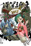 2012 blue_eyes_toon_dragon blue_eyes_white_dragon daruma_doll duel_monster green_hair highres mizuki_kotori mizuki_kotori_(yuu-gi-ou_zexal) multicolored_hair new_year sandals shimekazari smile suyu38 two-tone_hair waving yu-gi-oh! yuu-gi-ou yuu-gi-ou_zexal